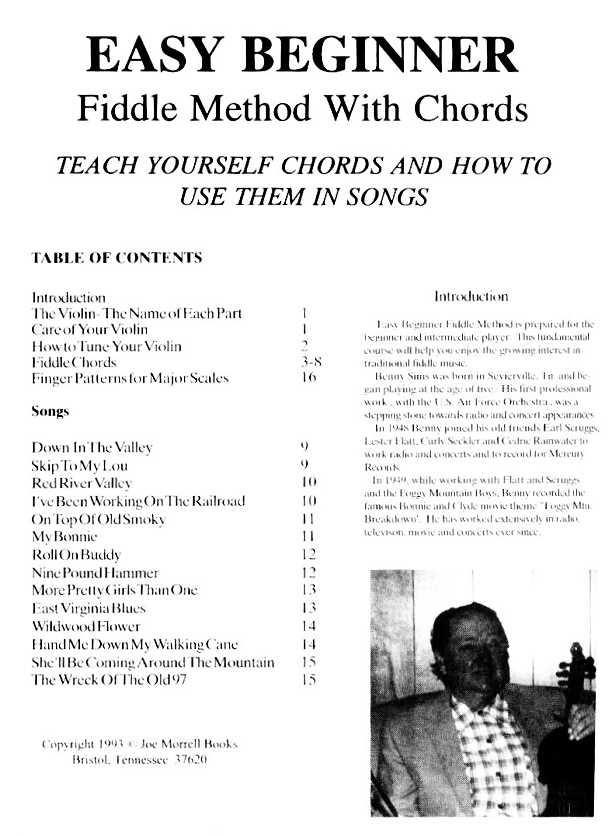 Easy Beginner Fiddle Method >> Joe Morrell Music Bluegrass Music ...